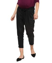 Momsoon Maternity Solid Three Fourth Length Pants  - Black
