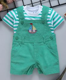 ToffyHouse Interlock Corduroy Dungaree Style Romper With Stripe Tee Ship Embroidery - Green White