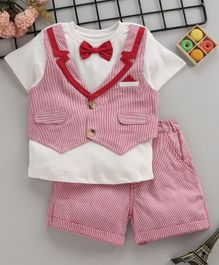 e35fadf377f58 ToffyHouse Half Sleeves Party Wear Chequered Shirt With Bow Detail & Shorts  - Red White