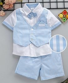 ToffyHouse Half Sleeves Party Wear Checked Tee With Bow Detail & Shorts - Light Blue