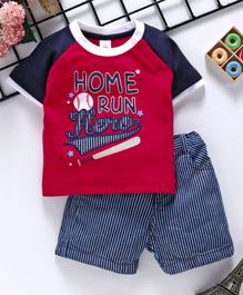 ToffyHouse Single Jersey Raglan Sleeves Tee And Stripe Shorts Home Run Print - Red Navy Blue