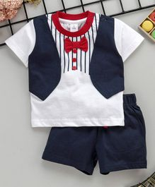 160c4e8909e89 ToffyHouse Half Sleeves Party Wear Striped Tee With Bow Detail & Shorts -  Navy Blue