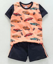 Taeko Half Sleeves Tee & Shorts Set Vehicles Print - Peach