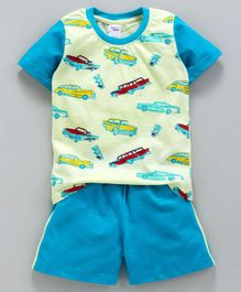 Taeko Half Sleeves Tee & Shorts Set Vehicles Print - Green Blue