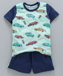 Taeko Half Sleeves Tee & Shorts Set Vehicles Print - Light & Navy Blue