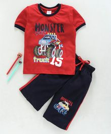 Taeko Half Sleeves Tee & Capri Set Monster truck Print - Red Blue