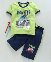 Taeko Half Sleeves Tee & Capri Set Monster truck Print - Green Blue