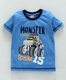 Taeko Half Sleeves Tee Monster Truck Print - Blue