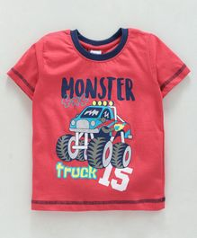 Taeko Half Sleeves Tee Monster Truck Print - Red
