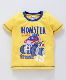 Taeko Half Sleeves Tee Monster Truck Print - Yellow