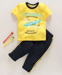 Taeko Half Sleeves Tee & Bottoms Set Text Print - Yellow