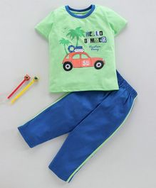 Taeko Half Sleeves Tee & Bottoms Set Car Print - Green Blue