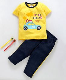 Taeko Half Sleeves Tee & Bottoms Set Car Print - Yellow Blue