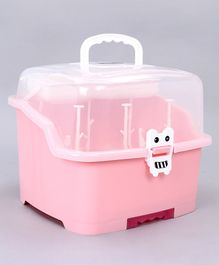 Babyhug 2 in 1 Bottle Drying Rack with Storage Box - Pink (Print May Vary)