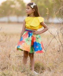 Fairies Forever Short Sleeves Solid Top With Colour Splash Flower Print Skirt - Yellow