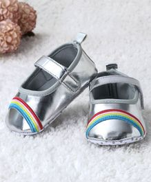 Kidlingss Rainbow Embroidered Velcro Straps Booties - Sliver