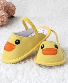 Kidlingss Duck Face Embroidered Booties - Yellow