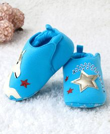 Kidlingss Horse Patch Back Elastic Booties - Blue