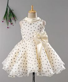 Enfance Silver Polka Dots Print Sleeveless Dress With Bow - Beige