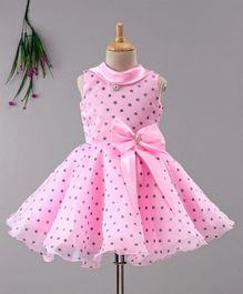 Enfance Silver Polka Dots Print Sleeveless Dress With Bow - Pink