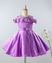 Enfance Flower Applique Cold Shoulder Half Sleeves Dress - Purple