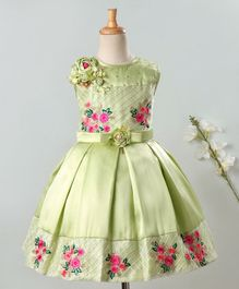 Enfance Flower Embroidered Sleeveless Pleated Dress - Green