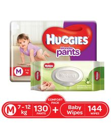 Huggies Wonder Pants Diapers Medium Size Combo Pack - 130 Pieces & Huggies Baby Wipes Cucumber & Aloe Vera - 144 Pieces