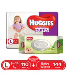 Huggies Wonder Pants Diapers Large Size Combo Pack - 110 Pieces & Huggies Baby Wipes Cucumber & Aloe Vera - 144 Pieces