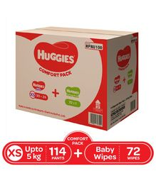 Huggies Wonder Pants Diapers Extra Small Size Combo Pack - 114 Pieces & Huggies Baby Wipes Cucumber & Aloe Vera - 72 Pieces
