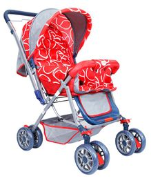 1st Step Pram Cum Stroller With Canopy - Red