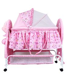 1st Step Cradle With Wheels Bunny Print - Pink