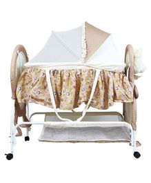1st Step Cradle With Wheels Bunny Print - Beige
