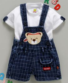 Wow Clothes Checks Dungaree With Inner Half Sleeves Tee Teddy Patch - White Blue