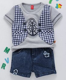 Wow Clothes Half Sleeves Tee With Attached Jacket & Checked Shorts - Grey Blue