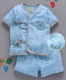 Wow Clothes Half Sleeves Interlock Night Suit Bear Family Print - Blue