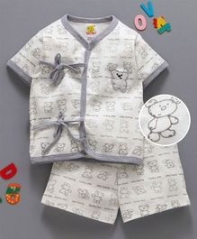 Wow Clothes Half Sleeves Interlock Night Suit Bear Family Print - Off White