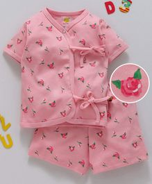 Wow Clothes Half Sleeves Night Suit Flower Print - Pink