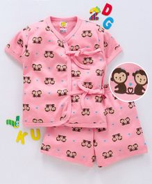 Wow Clothes Half Sleeves Interlock Night Suit Monkey Print - Peach