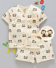 Wow Clothes Half Sleeves Interlock Night Suit Monkey Print - Cream