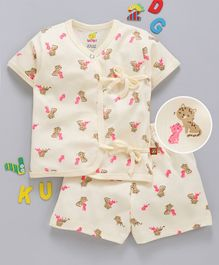 Wow Clothes Half Sleeves Interlock Night Suit Kitty Print - Light Yellow