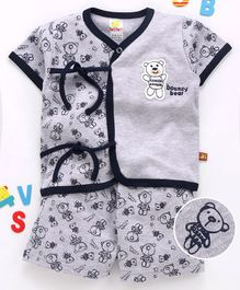 Wow Clothes Half Sleeves Interlock Night Suit Bear Print - Navy Blue