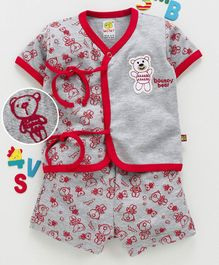 Wow Clothes Half Sleeves Interlock Night Suit Bear Print - Red