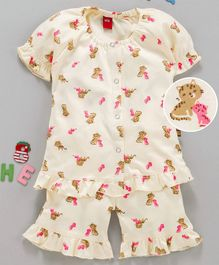 Wow Clothes Half Sleeves Ruffled Hem Night Suit Kitten Print - Light Yellow