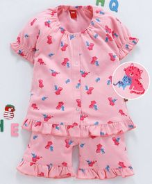 Wow Clothes Half Sleeves Ruffled Hem Night Suit Kitten Print - Pink