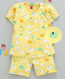 Wow Clothes Half Sleeves Night Suit Elephant Print - Yellow