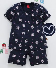 Wow Clothes Half Sleeves Night Suit Teddy & Heart Print - Navy Blue