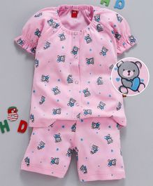 Wow Clothes Half Sleeves Night Suit Teddy & Heart Print - Light Pink
