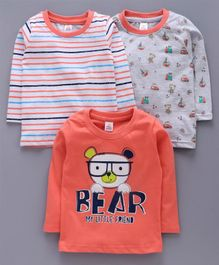 Mini Donuts Full Sleeves Tee Striped & Bear Print Pack of 3 - Orange