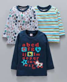 Mini Donuts Full Sleeves Striped Tee Alphabetical Print Pack of 3 - Navy Blue