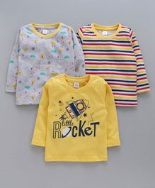 Mini Donuts Full Sleeves Tee Striped & Rocket Print Pack of 3 - Yellow